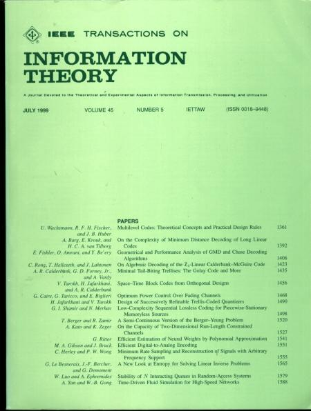 Transactions of Information Theory